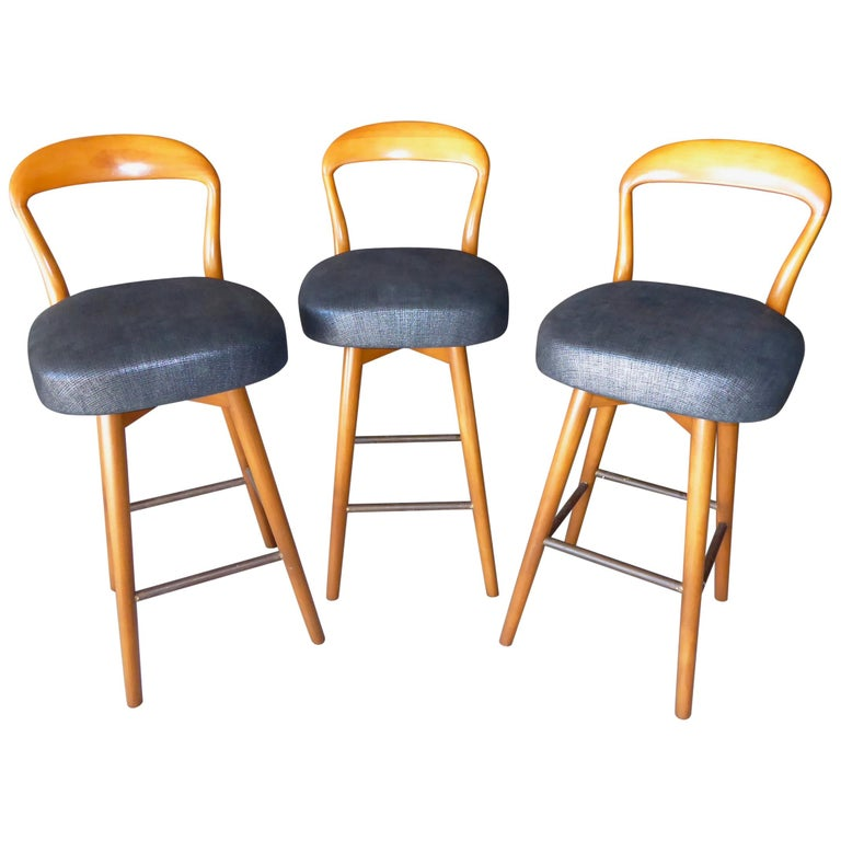 Trio of Danish Teak Wood Counter Stools Designed by Henry Rosengren Hansen