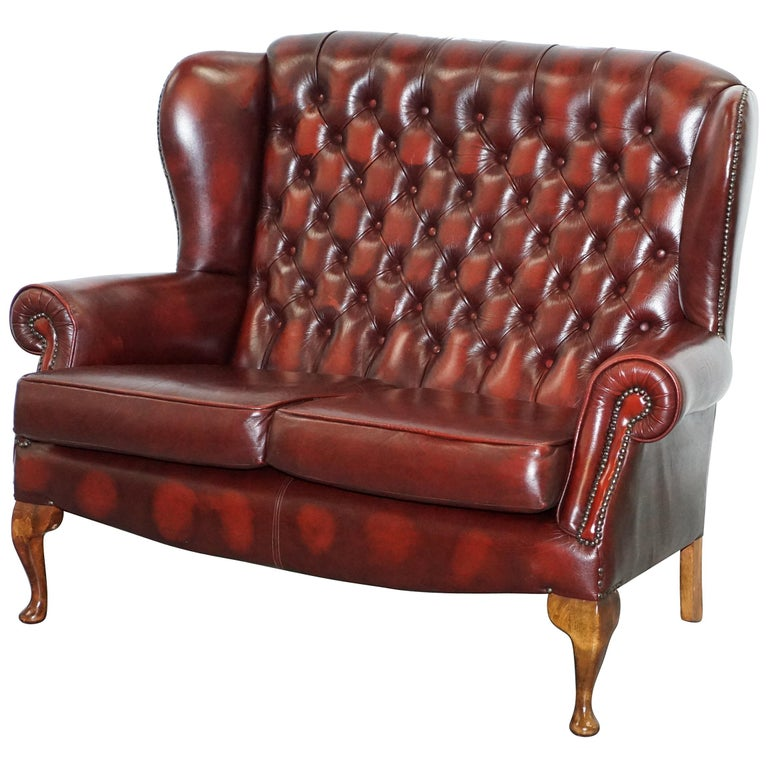 Vintage Chesterfield Oxblood Leather Two Seat Wingback Sofa Settee For