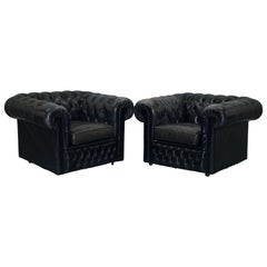 Pair of Vintage Aged Black Leather Chesterfield Club Armchairs Cushion Base