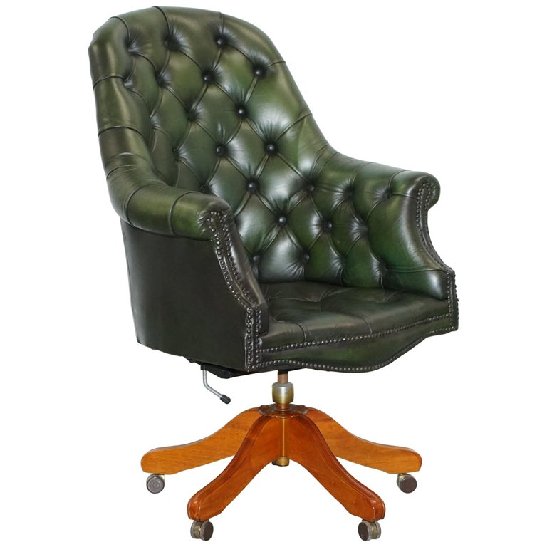 Vintage Chesterfield Directors Green Leather Executive Captains Office Chair