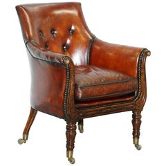 Rare Attributed to Gillows Regency Armchair Hand Dyed Brown Leather Hand-Painted