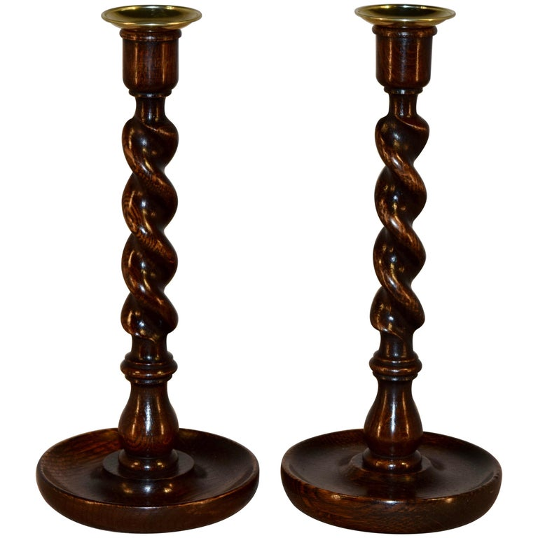 Pair of English Oak Candlesticks, circa 1900
