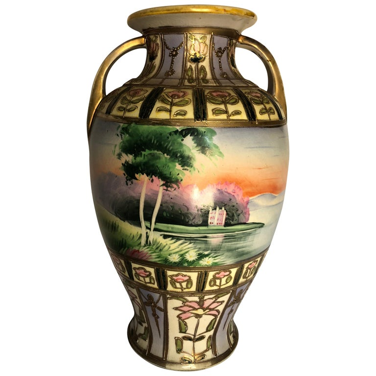 Large Art Deco Hand Painted Two Handled Vase Signed Mm For Sale At