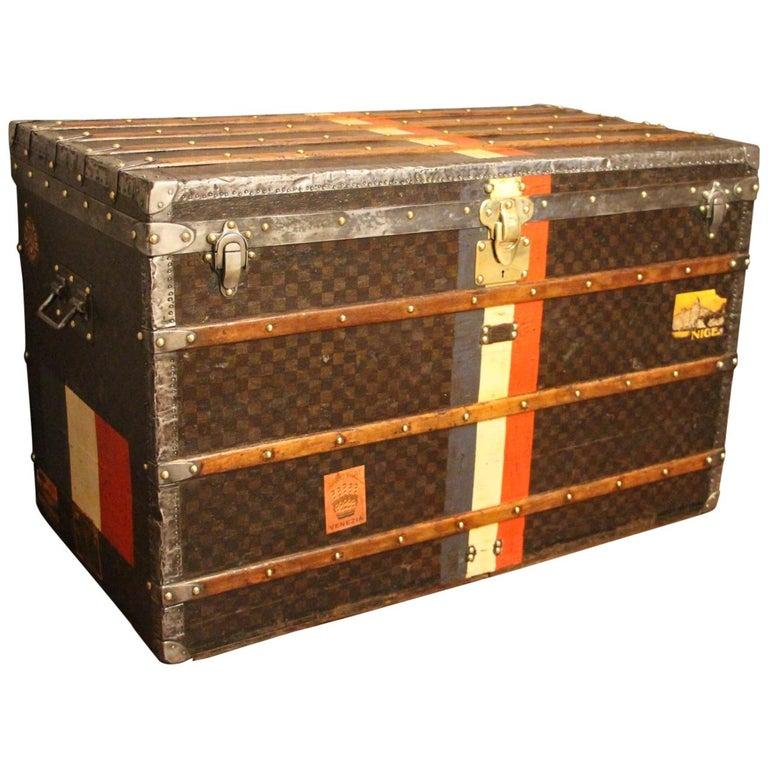 1890s Large Louis Vuitton Checkered Monogram Steamer Trunk, Malle Louis Vuitton