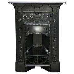 Reclaimed Edwardian Art Nouveau Cast Iron Bedroom Fireplace