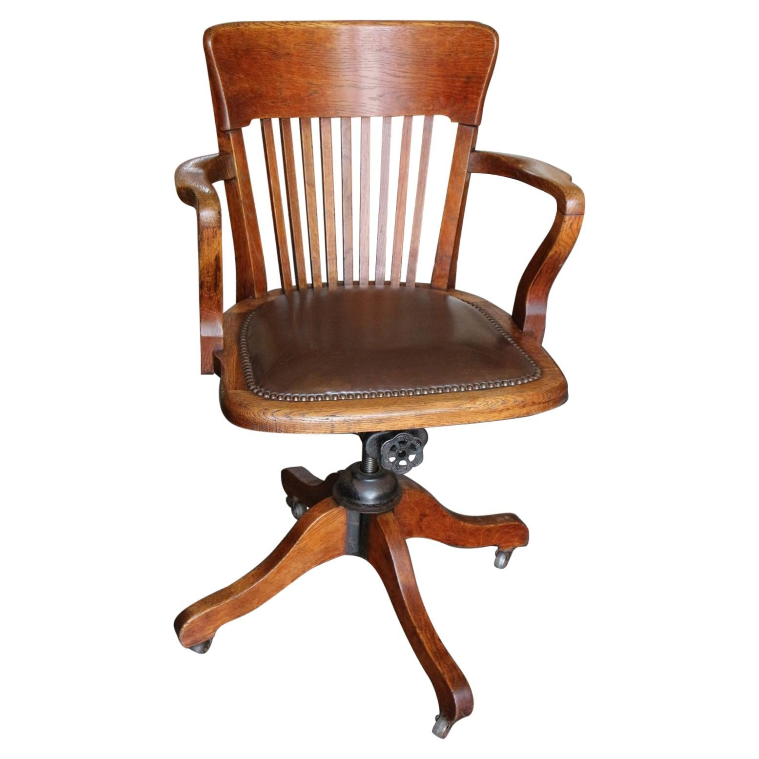 19th Century Antique Oak Office Chair For Sale