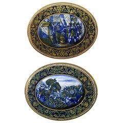 Morroni & Tega Gualdo Tadino Rinascimental Italian Majolica Pair of Plates