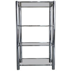 Mid-Century Modernist Chrome Tubular Étagère with Smoked Glass Shelves, 1970s