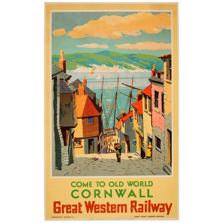 Original Vintage Great Western Railway Poster - Come To Old World Cornwall - GWR