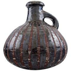 Gutte Eriksen Own Workshop, Pottery Pitcher, Metallic Glaze, Raku Burned