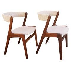 Kai Kristiansen Teak Dining Chairs, a Pair