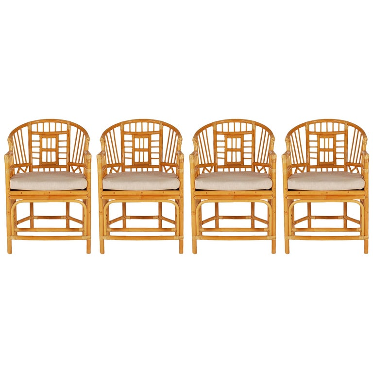 Set of Four Rattan Bamboo Arm Dining Chairs Chinese Chippendale