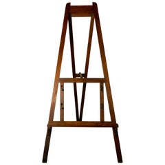 Large Rustic Pine Adjustable Artists' Easel, or Blackboard Easel
