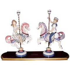 Lladro Retired Boy and Girl on Carousel