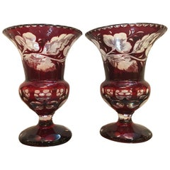 Pair of Ruby Intaglao Cut to Clear Campana Urns