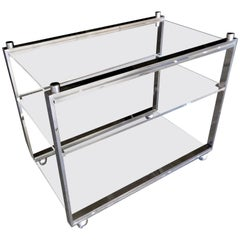 Chrome-Plated Steel and Lucite Three-Level Serving Cart