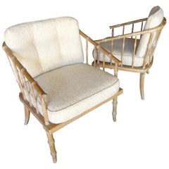 Pair of Faux-Bamboo Armchairs Attributed to McGuire