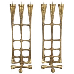 Pair of Brutalist Brass Candleholders Midcentury, Austria, 1950