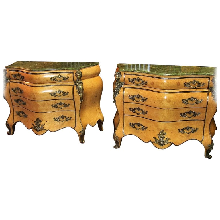 French Louis XV Style Bombe Commodes, Pair