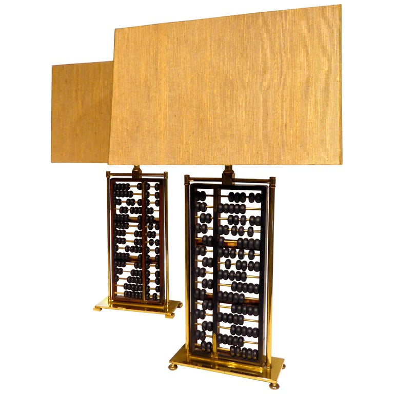 Pair Of 1950s Table Lamps Incorporating Antique Chinese Abacus For Sale