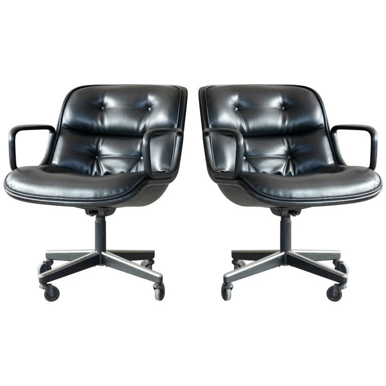 Pair of Charles Pollock Executive Chairs in Leather for Knoll International