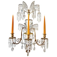 Four 19th Century Bronze and Crystal Neoclassical Sconces in Style of Schinkel