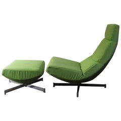 1970s-1980s Midcentury Lime Green Swivel Lounge Chair with Footstool