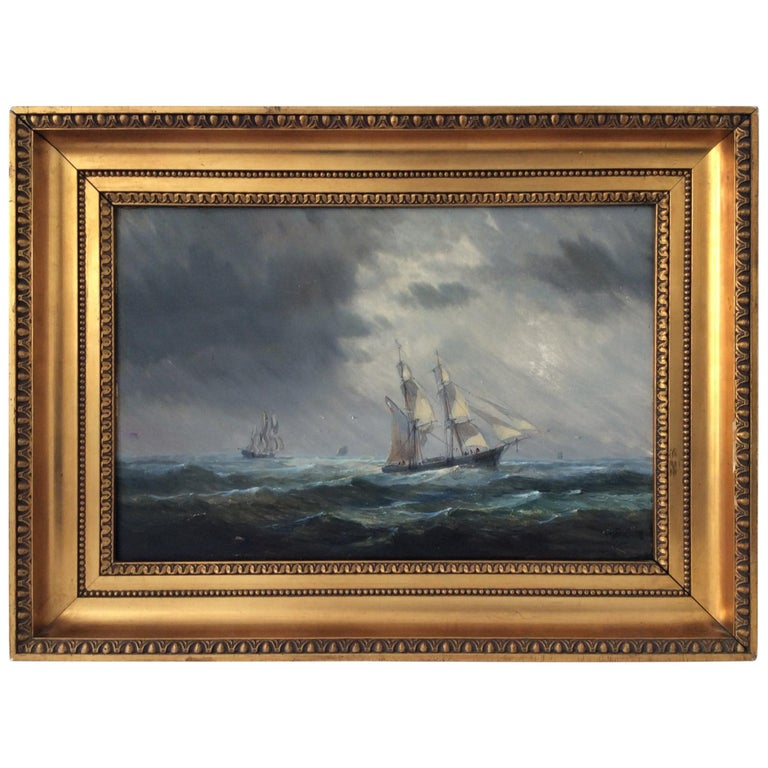 Painting Marine style of Carl Frederik Sørensen For Sale