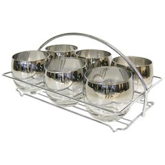 1960s Dorothy Thorpe Silver Fade Roly Poly Glasses with Carrier, Set of Six
