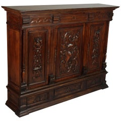Spanish Revival Carved Walnut Console Sideboard, circa 1920s