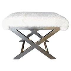 """Nickel-Plated Brass """"X"""" Form Vanity Bench"""