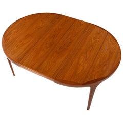Ib Kofod Larsen Danish Teak Oval Dining Table with Extendable Leaf Insert