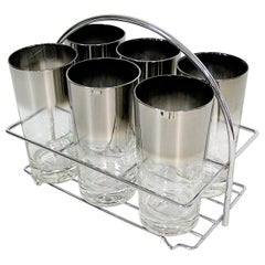 1960s Dorothy Thorpe Silver Fade Highball Glasses with Carrier, Set of Six