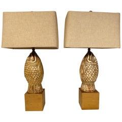 Opposing Pair of Ceramic Koi Figures Mounted as Lamps