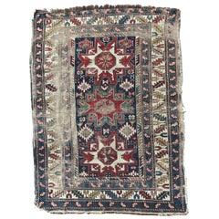 Antique Distressed Lesgui Caucasian Chirwan Rug