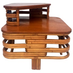 1930'S Art Deco Two-Tier Bent Rattan & Mahogany Top Table by Paul Frankl
