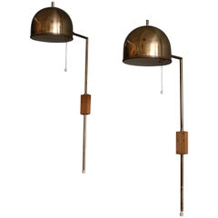 Pair of Brass Wall Lamps Bergboms, Sweden, 1960s