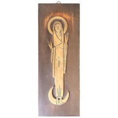 Religious Plaque or Icon of Mary in Brass on Wood