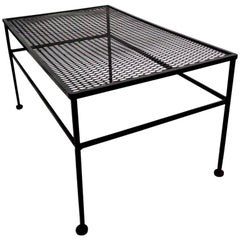Rectangular Metal Patio Garden Table Attributed to Woodard