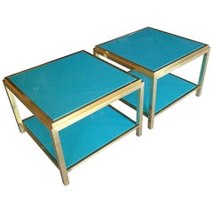Pair of Brass and Lacquered Two-Tier Side Tables Attributed to Mastercraft