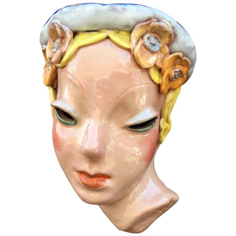 Goldscheider Inspired Czech Signed Ceramic Stylized Art Deco Head For Sale