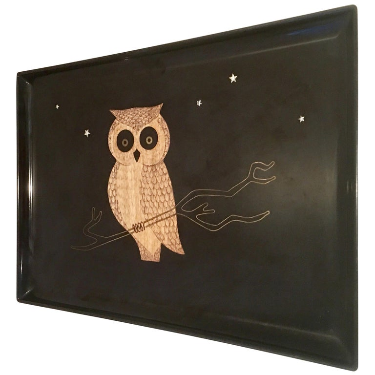 "20th Century Lacquer and Inlay ""Owl"" Tray by Couroc"