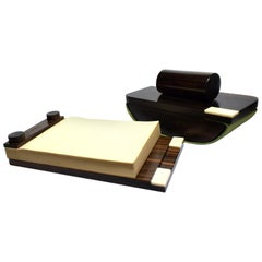 French Art Deco Desk Set in Macassar Ebony