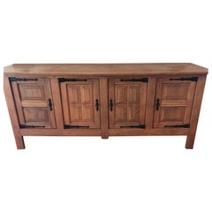 French Pickled Oak Sideboard Credenza Buffet with Keys, France, 1940s