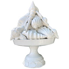 Elegant Ornate Glazed Porcelain Ocean Basket Centrepiece Topiary