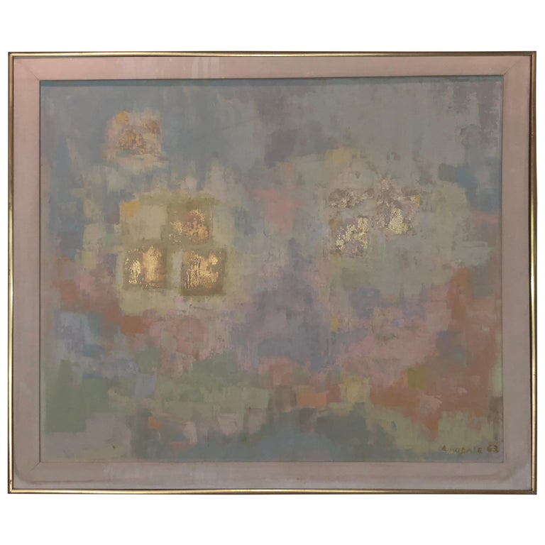 Abstract Oil on Canvas Painting by Anna Rodale 1963