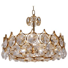 Palwa Chandelier, Gold-Plate and Faceted Crystals, circa 1970s, German