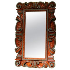 19th Century Renaissance Rectangular Mirror in Hand-Carved Walnutwood Frame