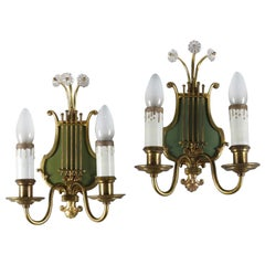 Pair of Vintage Brass Lyre Form Two-Candle Electrified Wall Sconces 20th Century