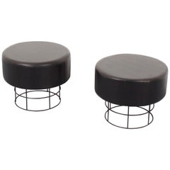 Pair of Black Round Wire Stools, Germany, 1960s